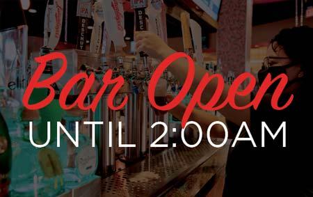 Bar Open until 2am banner
